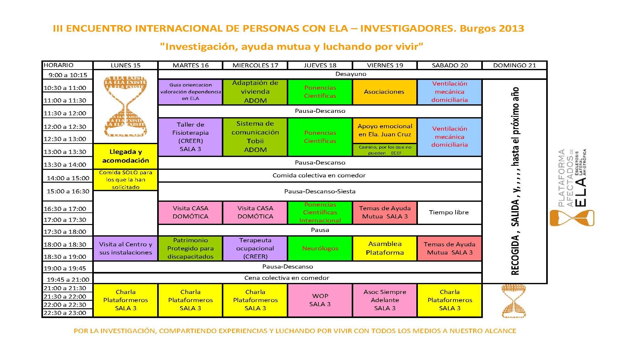 III ENCUENTRO INTERNACIONAL DE PERSONAS CON ELA – INVESTIGADORES.  Burgos 2013